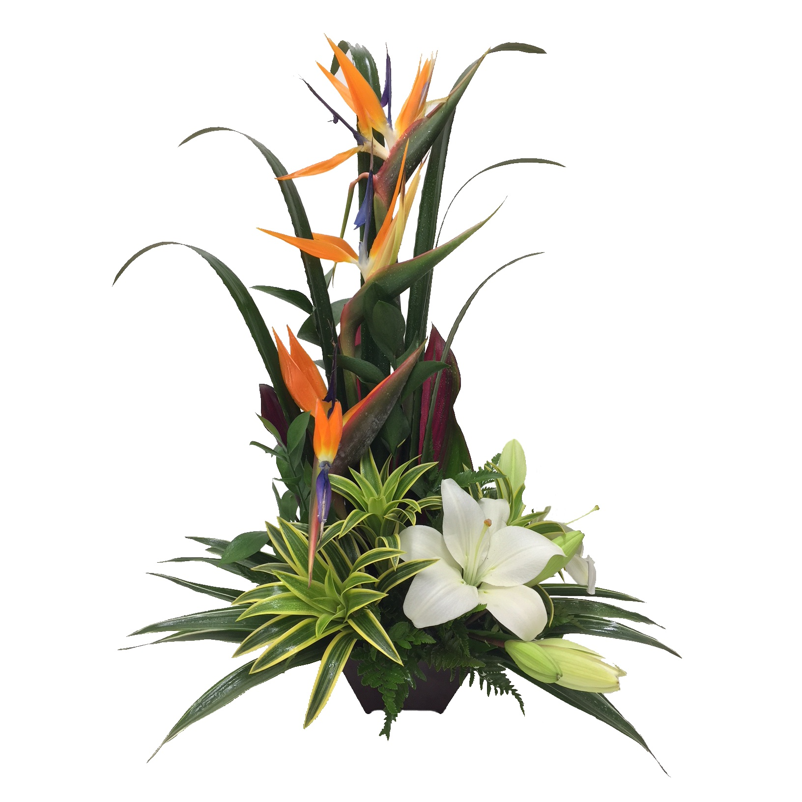Arreglo Floral con lirios y aves del paraíso