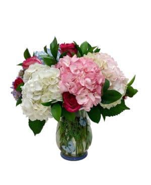 arreglo floral jarron hortensias