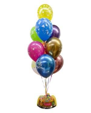 torta p con globos en helio