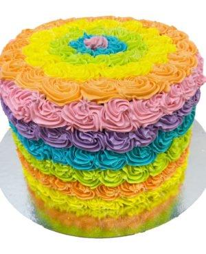 torta rosetones arco iris